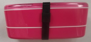 Pink bento with chopsticks and belt