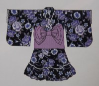 Yukata dress violet